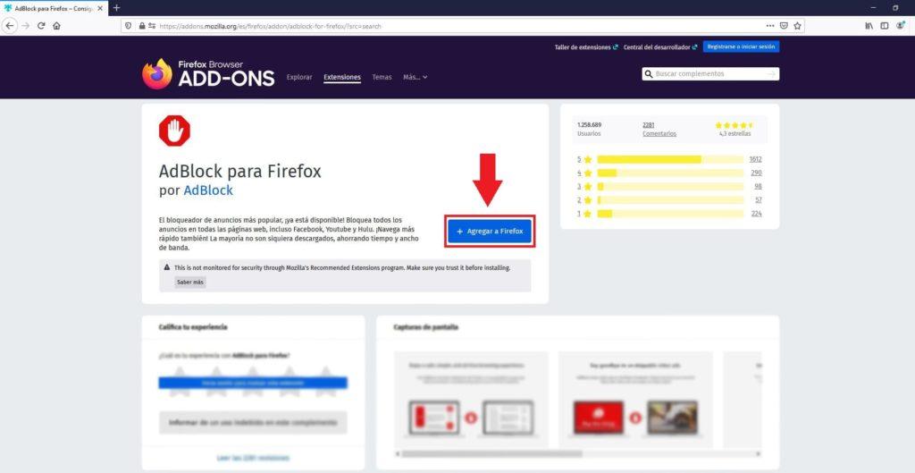 Obtener extensiones para Mozilla