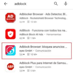 Búsqueda en Play Store del navegador con Adblock