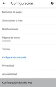 Configuración avanzada de Google Chrome Android