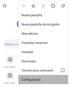 Configuración de Google Chrome Android