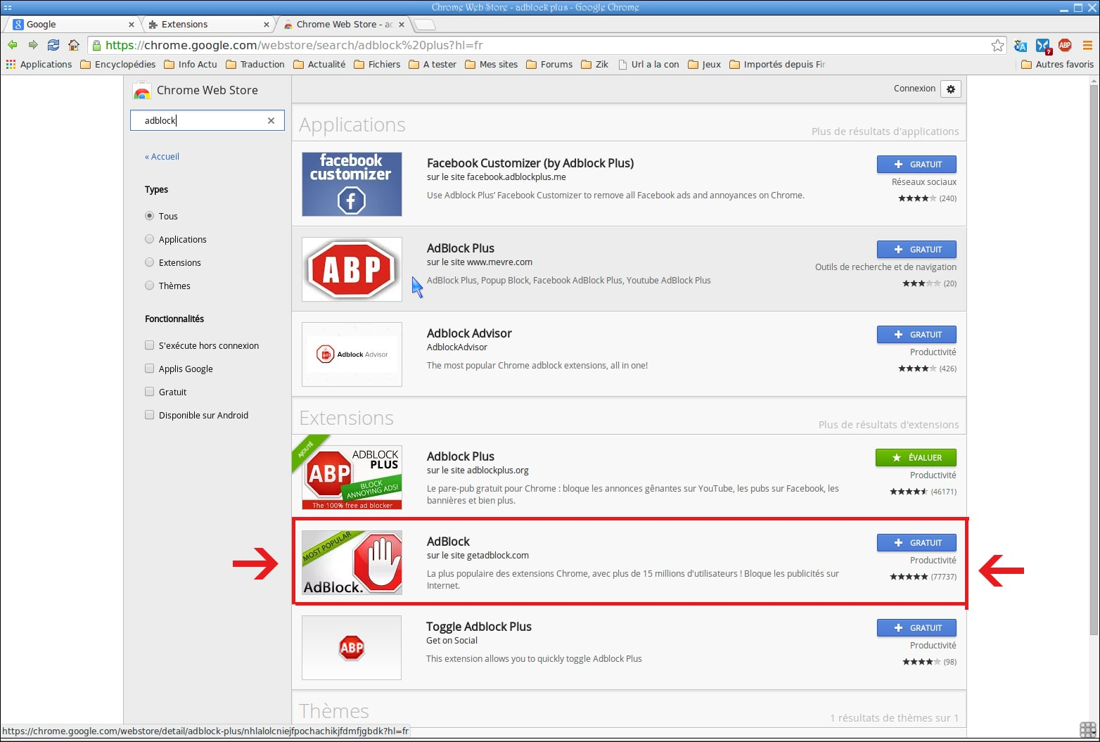 Descargar extensiones en la Web Store