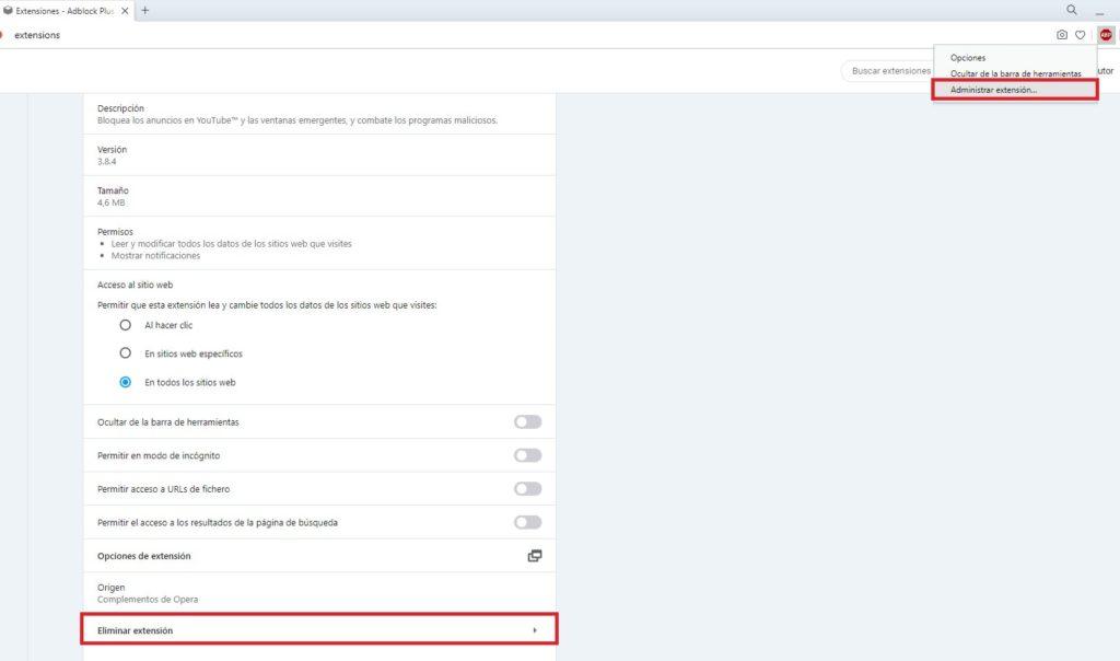 Eliminar la extensión de Adblock Plus del navegador Opera