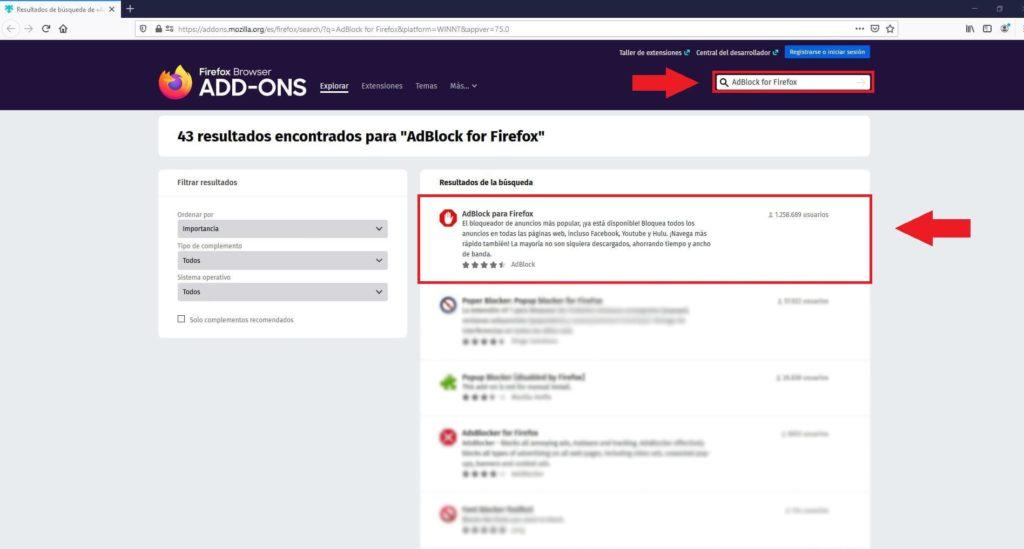 Como instalar la extensión de Adblock para Firefox