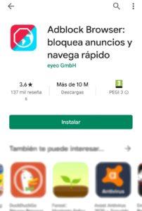 Instalar el navegador de Adblock en Android